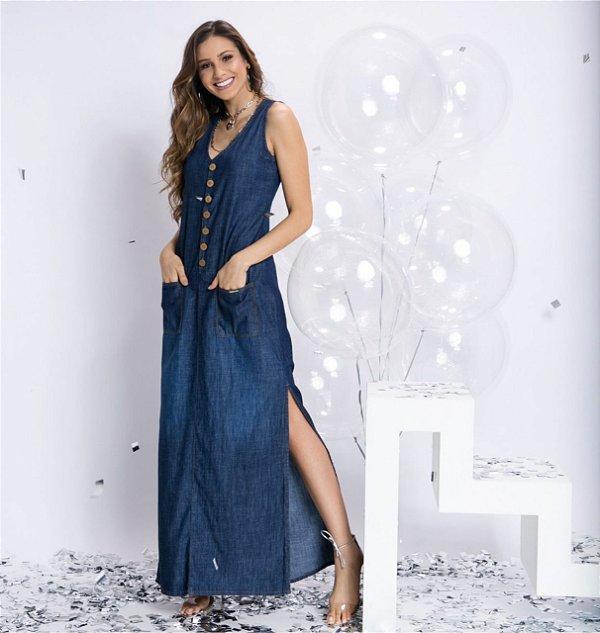 5729dce582 Vestido longo jeans - AffeMaria Moda Feminina
