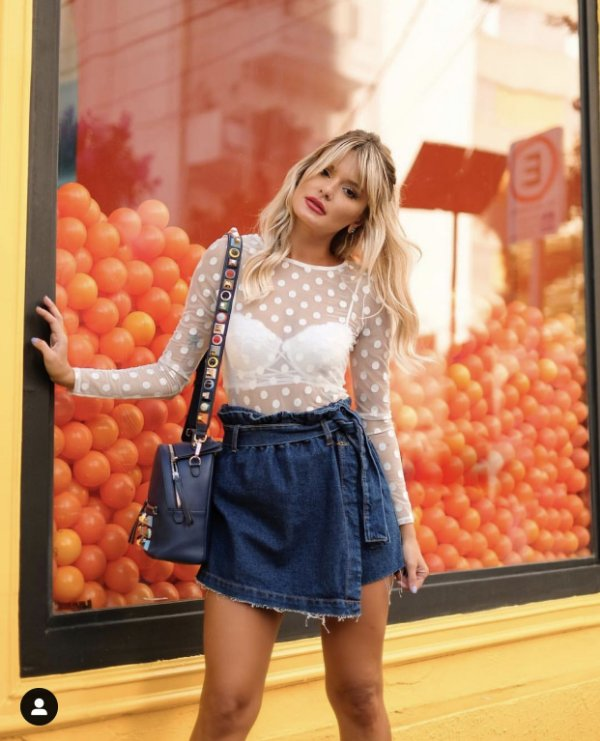 Short saia jeans