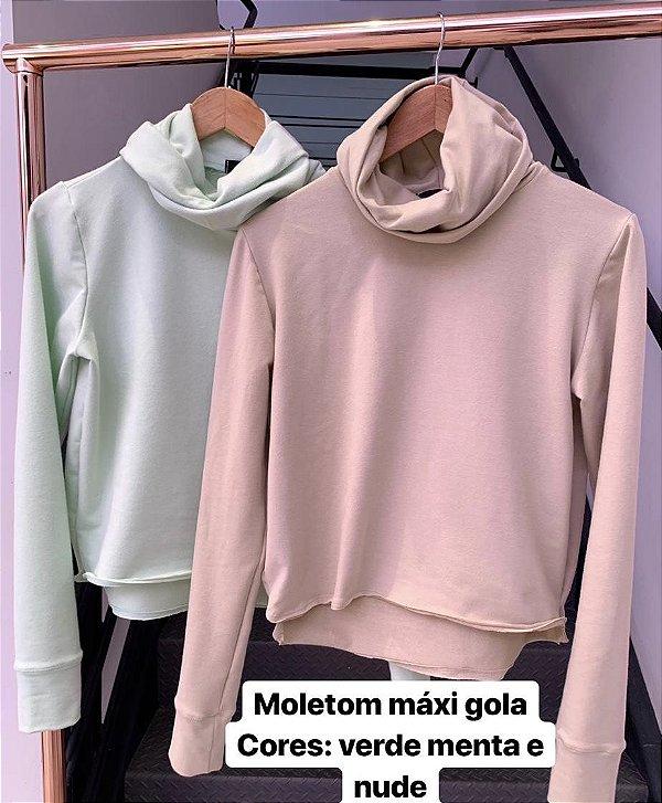 Blusa de Moletom Maxi Gola