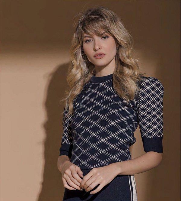 Blusa de tricot xadrezinha