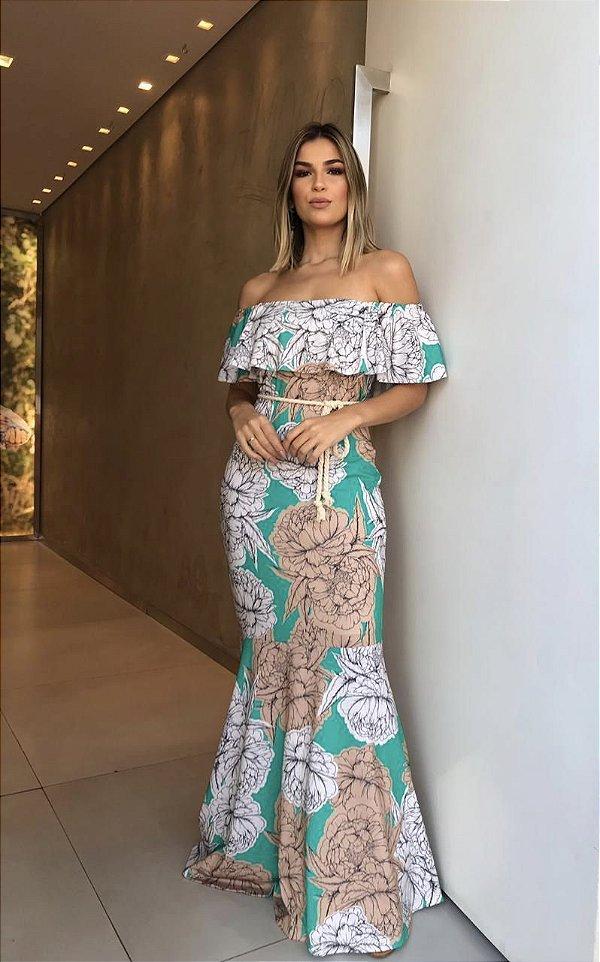 Vestido longo floral com babado