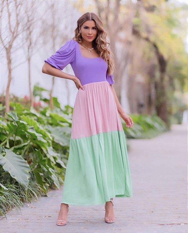 Vestido Tricolor