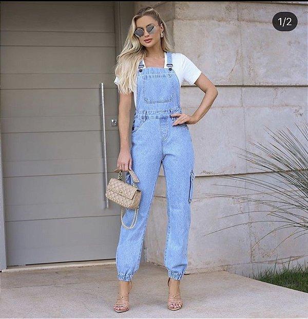 Jardineira Jeans Cargo