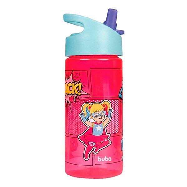 Garrafa Super Heróis Rosa 380Ml Buba