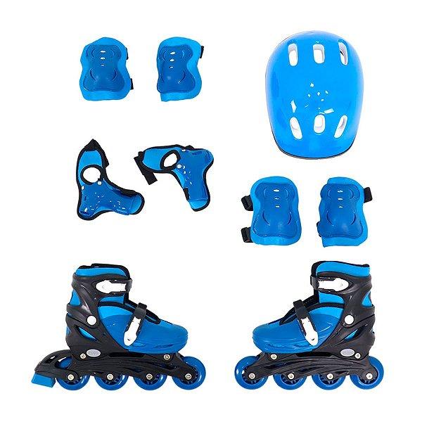 Patins Roller Infantil Azul Ajustavel Com Kit Proteção