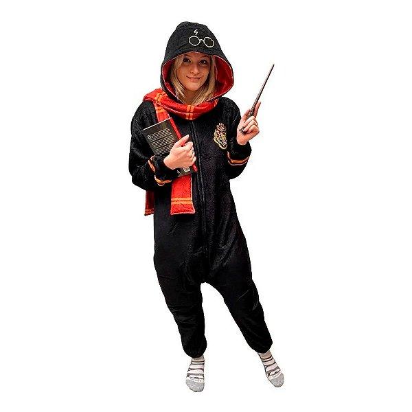 Pijama Macacão Kigurumi Traje Hogwarts Harry Potter P
