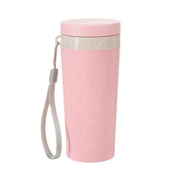 Copo Térmico Fibra de Bambu 350ml Rosa