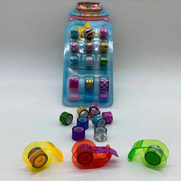 Kit Com 9 Washi Mini Tapes Com Suporte E Cores Sortidas