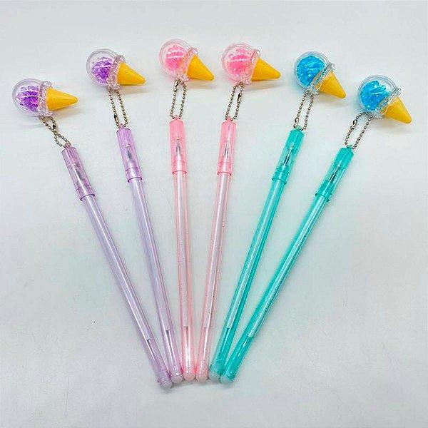 Kit 6 Canetas Com Pingente De Sorvete Candy Colors