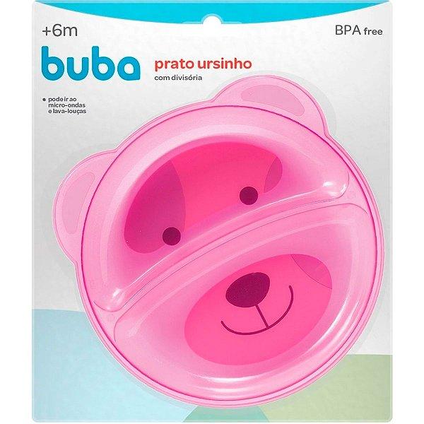 Prato Ursinho Com Divisória Rosa Buba Baby