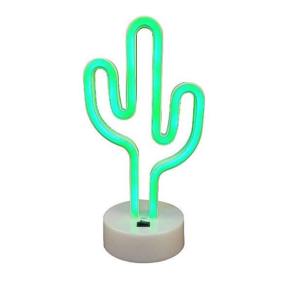 Luminária Abajur Led Verde Neon Cactus Enfeite Decoração 26cm