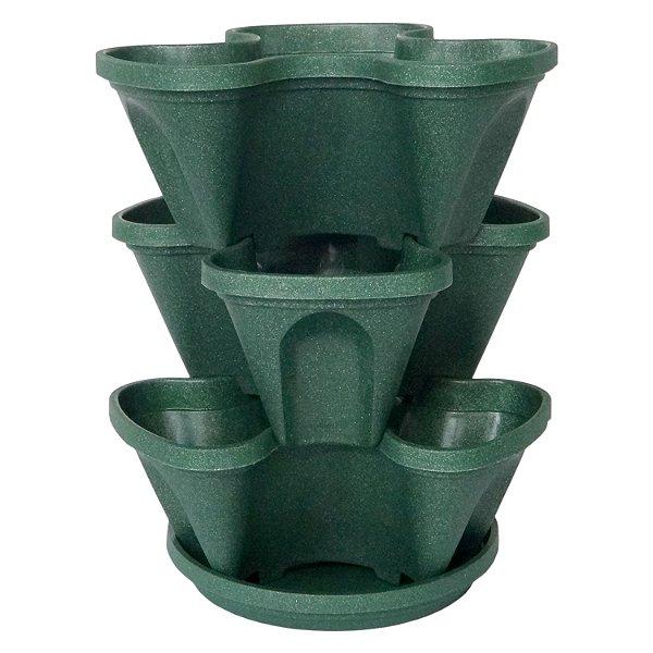 Vasos Empilháveis Para Terra e Hidropônicas Cor Verde