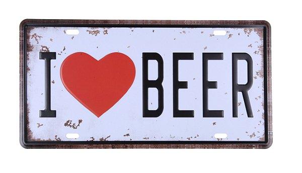 Placa Decorativa I love Beer Eu Amo Cerveja