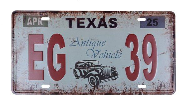 Placa de Carro Decorativa Texas Antiga