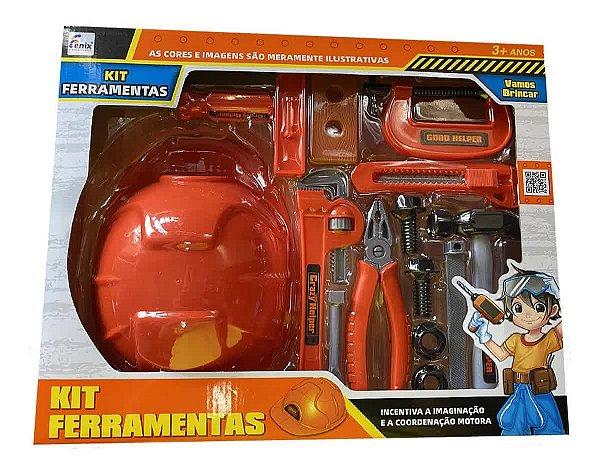 Kit Ferramentas Infantil Com Capacete 14 Peças