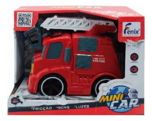 Caminhão De Bombeiros Mini Car Com Luz Som E Fricção