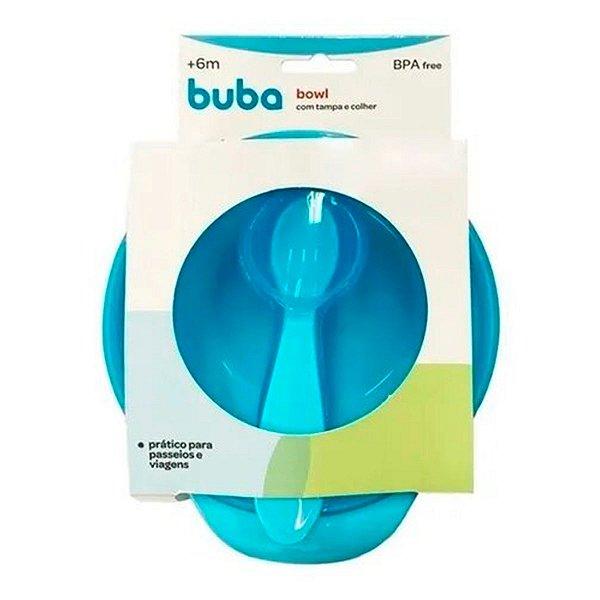 Prato Bowl Com Tampa E Colher Buba Azul