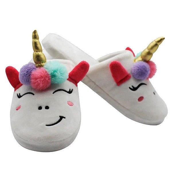 Chinelo de quarto feminino unicornio 33 A 35