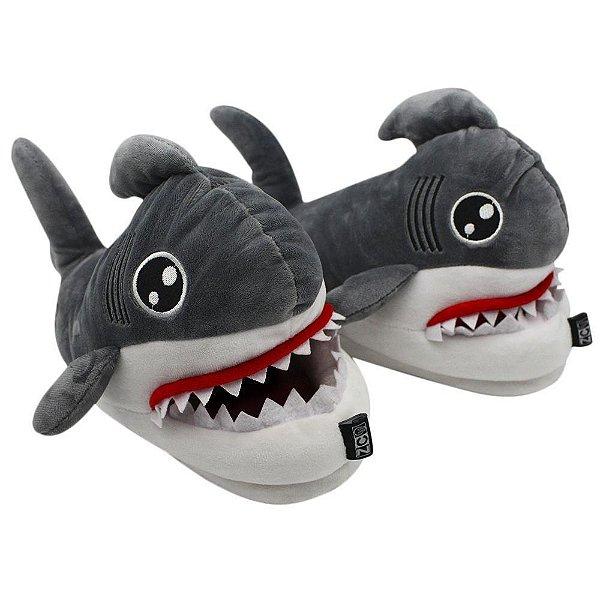 Pantufa Tubarão 3D Oficial Solado De Borracha Tamanho M