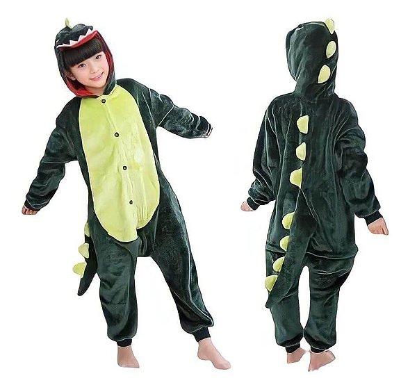 Macacão Kigurumi Infantil 7 a 8 anos Dinossauro
