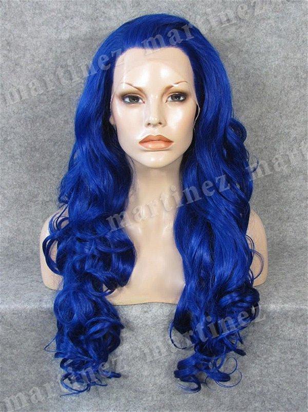 Peruca Sintética Premium Lace Front Azul Escuro