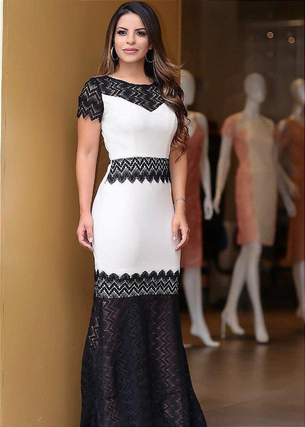 c462497feb1e Vestido Longo detalhes Renda Preta - Fassin Store