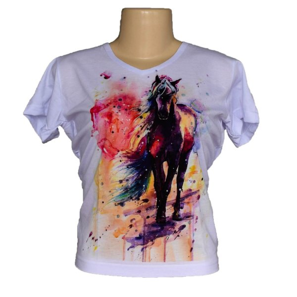 Camiseta baby look cavalo color