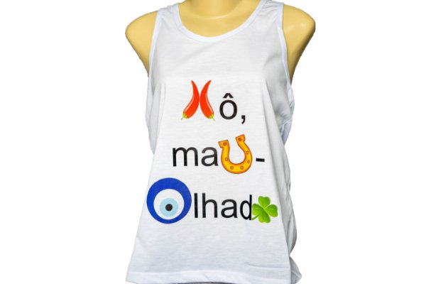 Camiseta feminina regata  Xo mau olhado