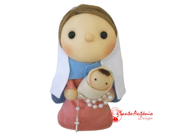 Boneca Nossa Senhora do Rosário de Pano Artesanal Colecionável para Decoração