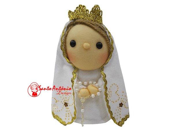 Boneca Nossa Senhora de Fátima de Pano Artesanal Colecionável para Decoração