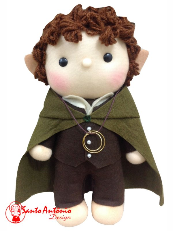 Porta-Aliança Boneco Frodo O Senhor dos Anéis Para Casamento Artesanal