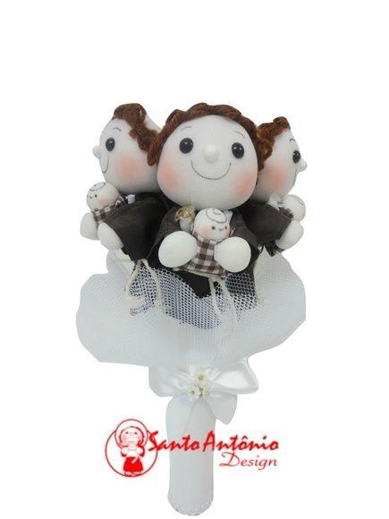 Buquê de Noiva Santo Antônio com 3 Para Casamento Artesanal