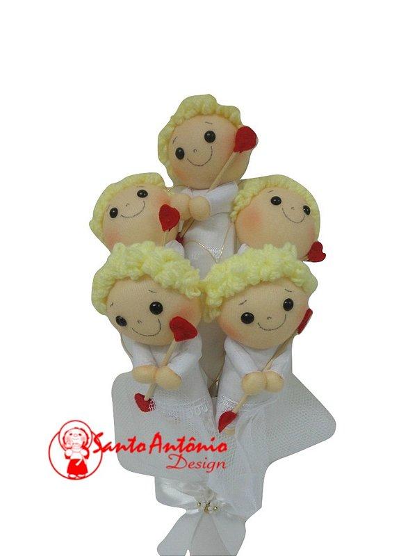Buquê de Noiva Cupido com 5 Para Casamento Artesanal