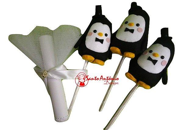 Buquê de Noiva Pinguim em Feltro com 3 Para Casamento Artesanal