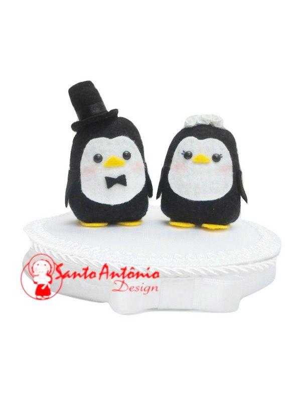 Topo de Bolo Casal de Pinguim