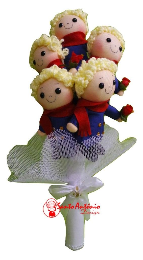 Buquê de Noiva Príncipe com 5 em Tecido Para Casamento Artesanal