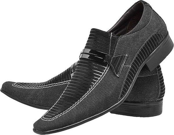 76b22ca1e Sapato Social Masculino De Lona Sf581 Preto  Confira Agora ...