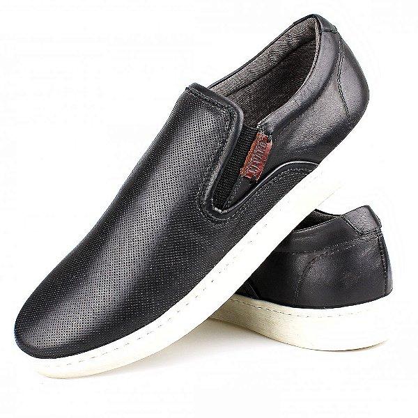 68e5e4deb5fea Sapato Slip Casual Masculino Couro Preto SF6904| Confira Agora ...