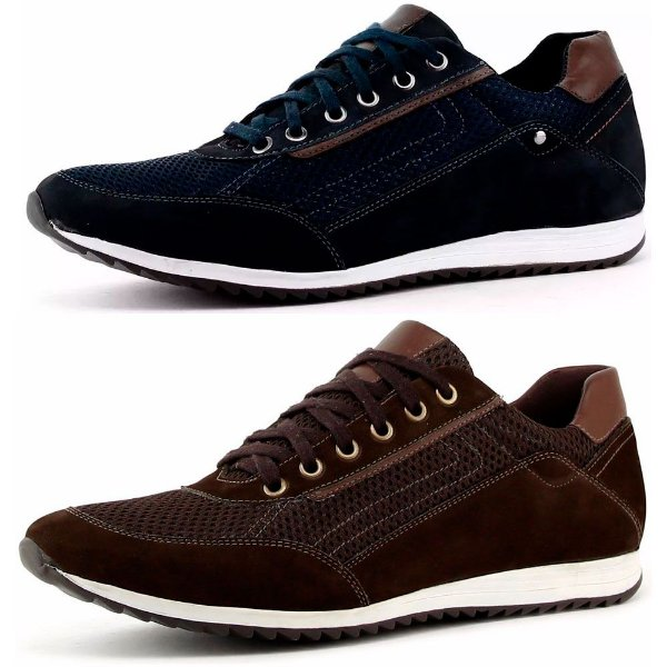 b9f27eed15 Kit 2 Pares Tênis Casual Masculino Couro Nobuck