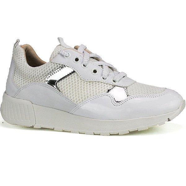 e88181ced5d Tênis Casual Feminino Branco e Prata