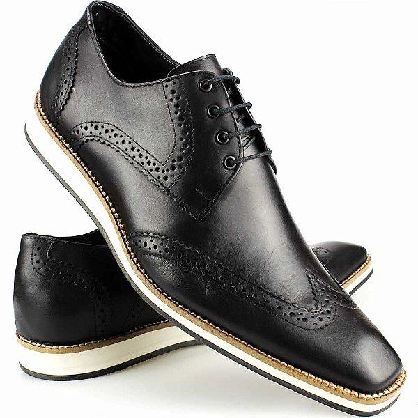 dd2025e35 Sapato Social Masculino Artesanal Brogue Preto Couro Solado EVA ...