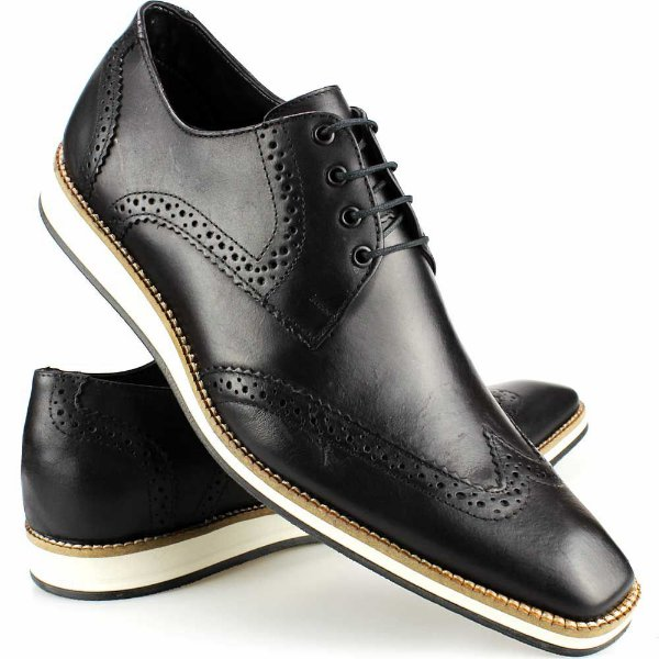 92f8e4e13 Sapato Social Masculino Artesanal Brogue Preto Couro Solado EVA ...