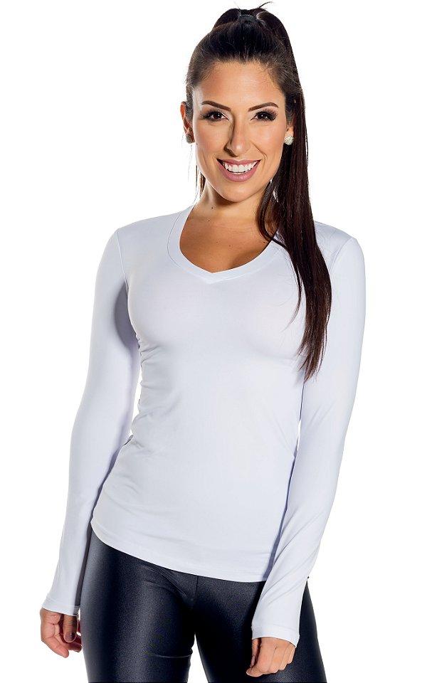 Blusa básica V branca