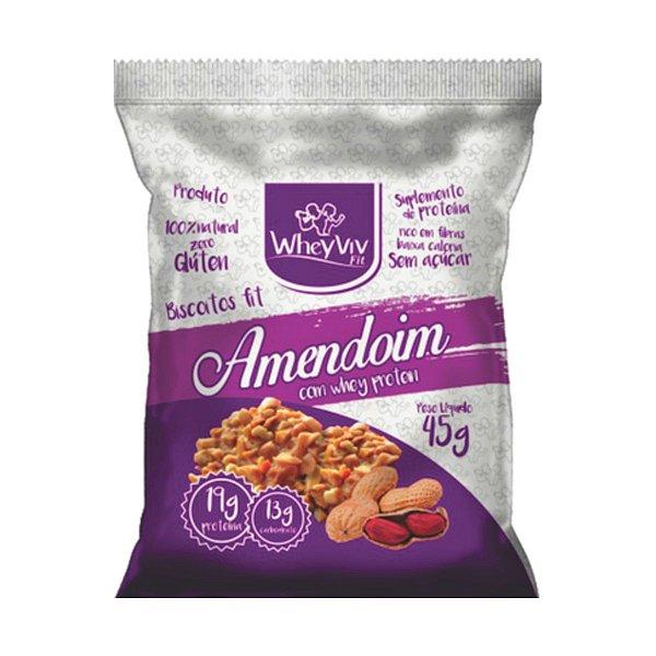 Biscoito Fit Amendoim Com Whey Protein - 45g - Wheyviv