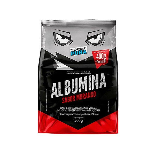 Albumina - Clara de ovo- Sabor Morango 500g - Proteína Pura