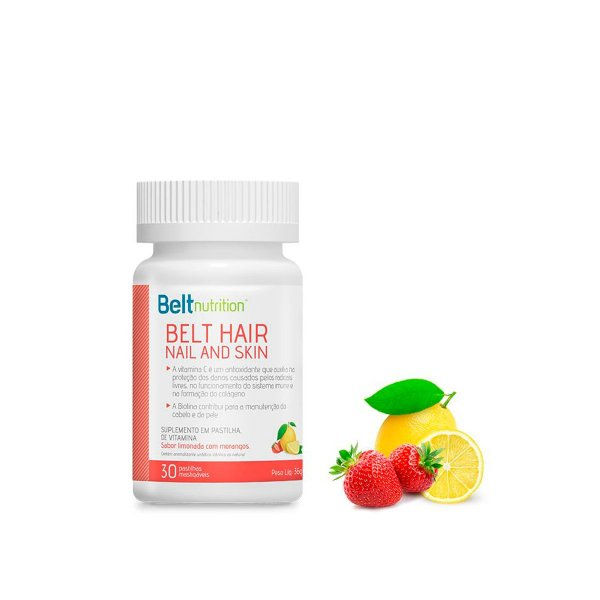 Belt Hair Nail And Skin - Sabor Limonada com Morangos - 30 Cápsulas - Beltnutrition