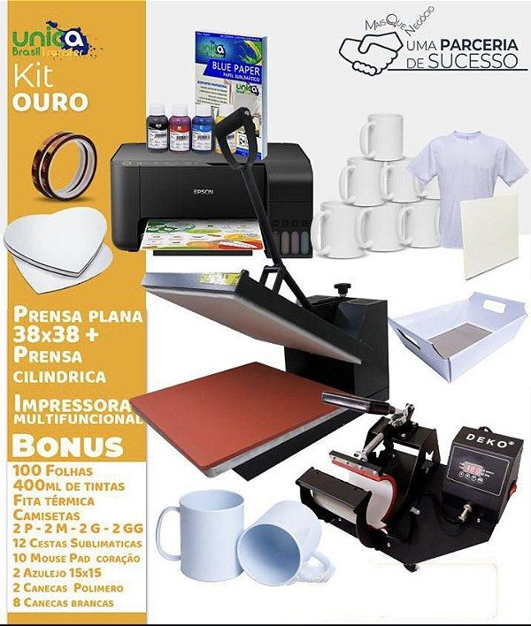 Kit Unica Ouro Prensa Plana 38x38 + Impressora + Prensa de Caneca