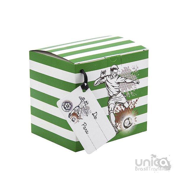 Caixinha Para Caneca Futebol Branca e Verde - 12 Unidades