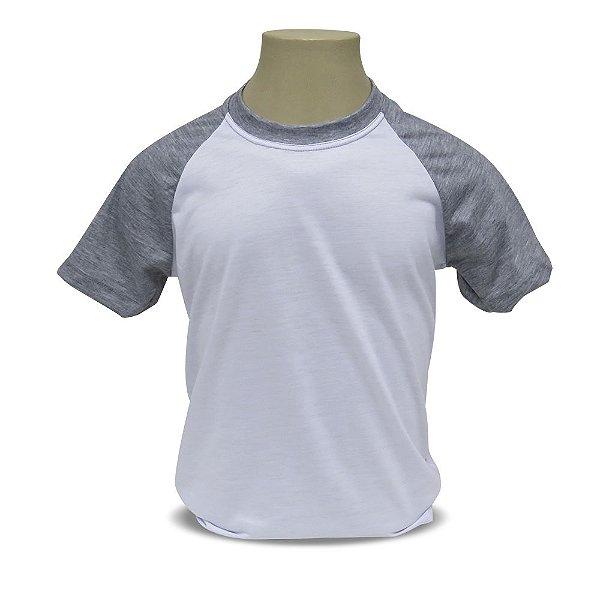 Camiseta Raglan Infantil Cinza Mescla Para Sublimação - 100% Poliéster