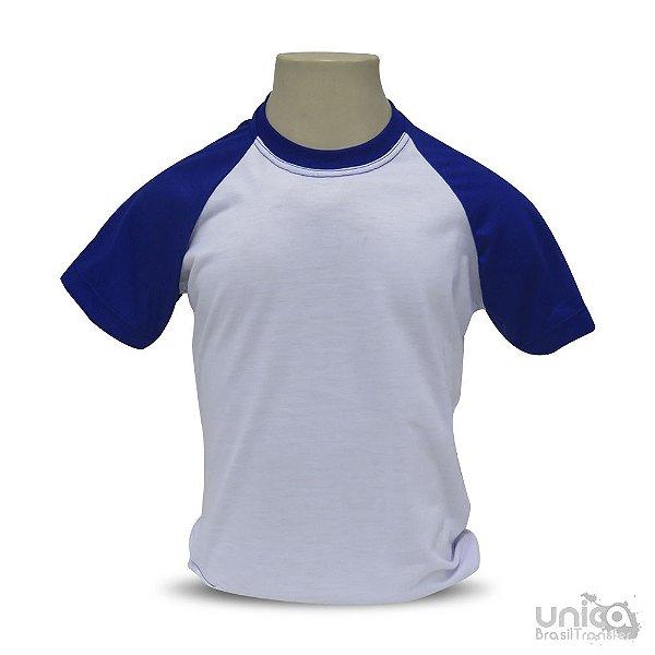 Camiseta Raglan Infantil Azul Para Sublimação - 100% Poliéster